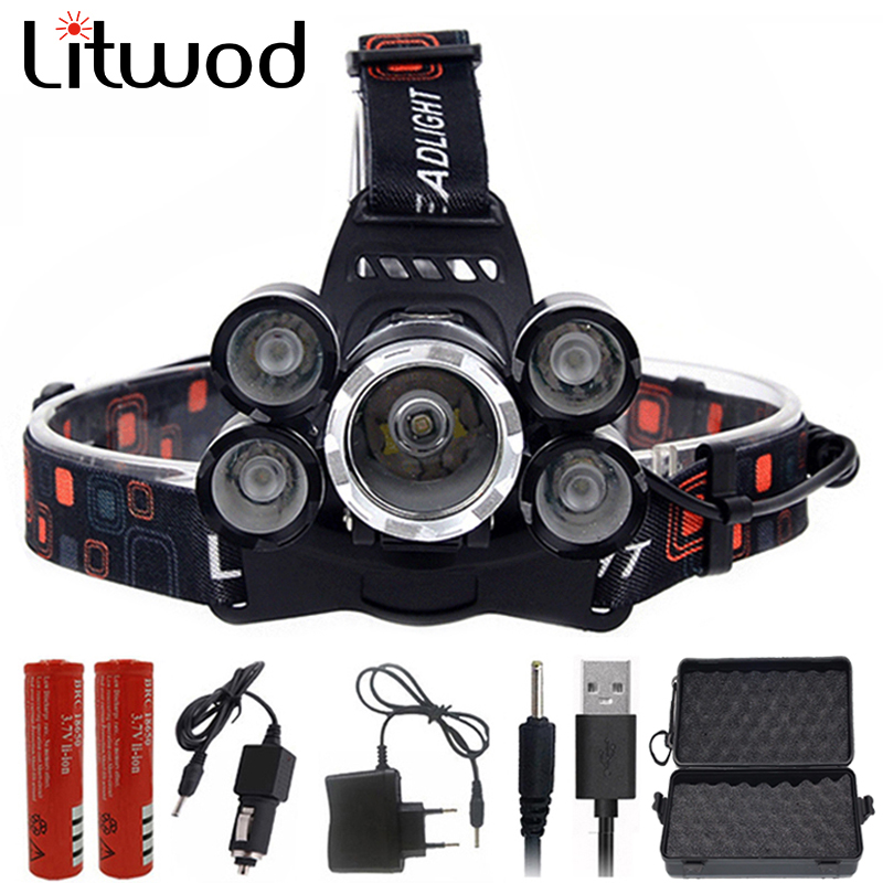Headlight 12000 Lumen headlamp 5 Chip XM-L T6 /Q5 LED Head Lamp Flashlight Torch Lanterna Headlamp for batteries and charger