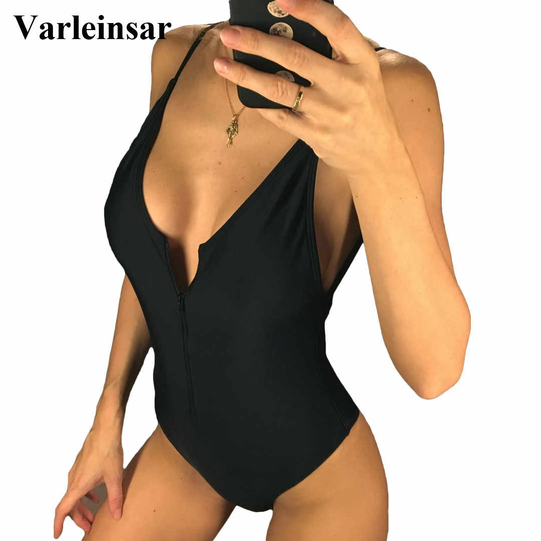 a35a9c8d795f1 4 colors 2019 Women Swimwear Zipper V Neck One Piece Swimsuit Female Bather  Backless Bathing Suit
