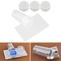 Nail Art Stamper With Cap Scraper Image Plate Set Kit Clear Jelly Nail Polish Stamp Manicure