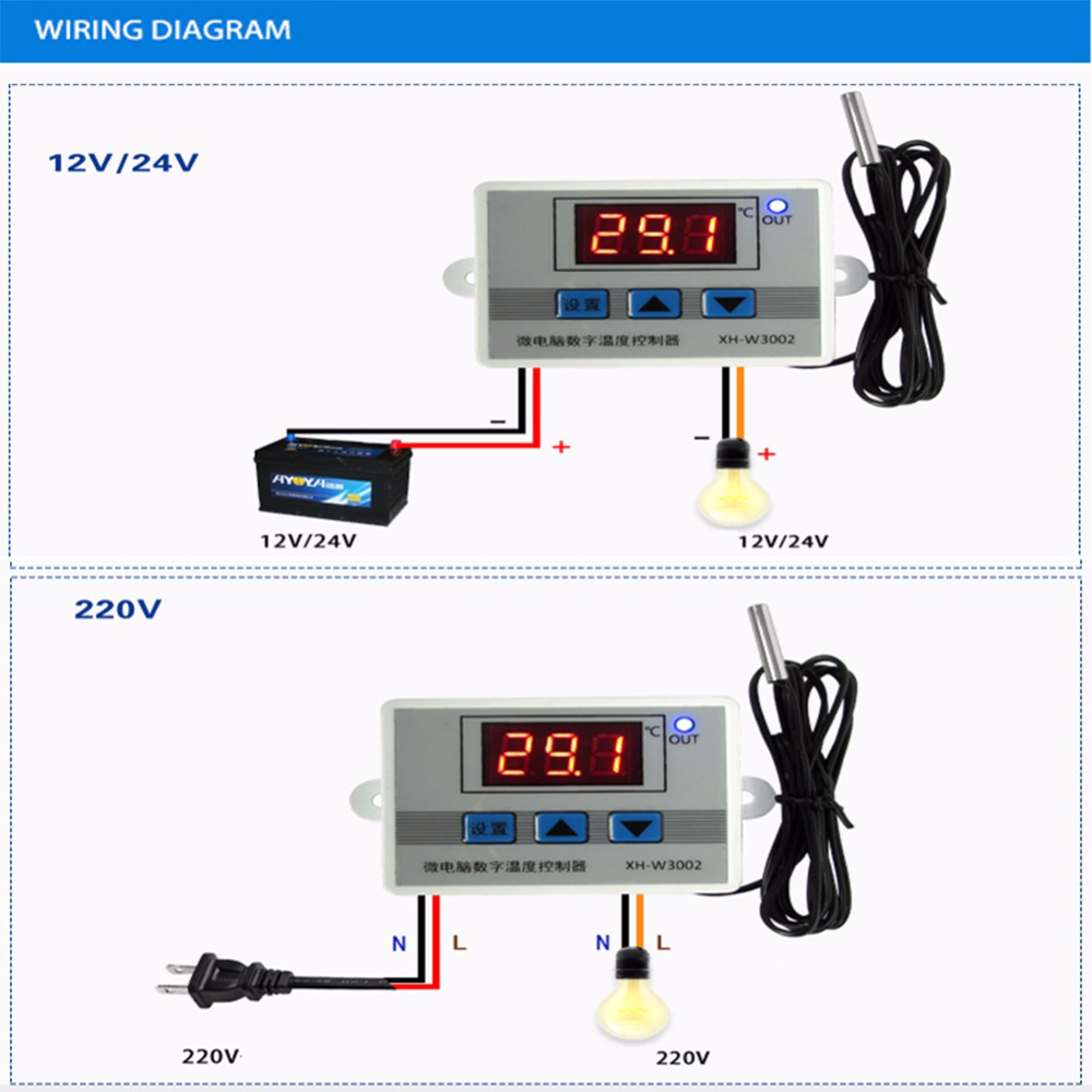 Red Led Digital Temperature Controller Thermostat Regulator Switch ...