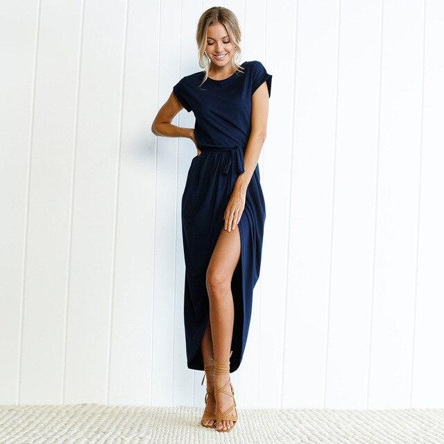 2019 Vestidos de playa bohemios de verano para mujer, túnica larga, Casual, de manga corta, Vestidos asimétricos