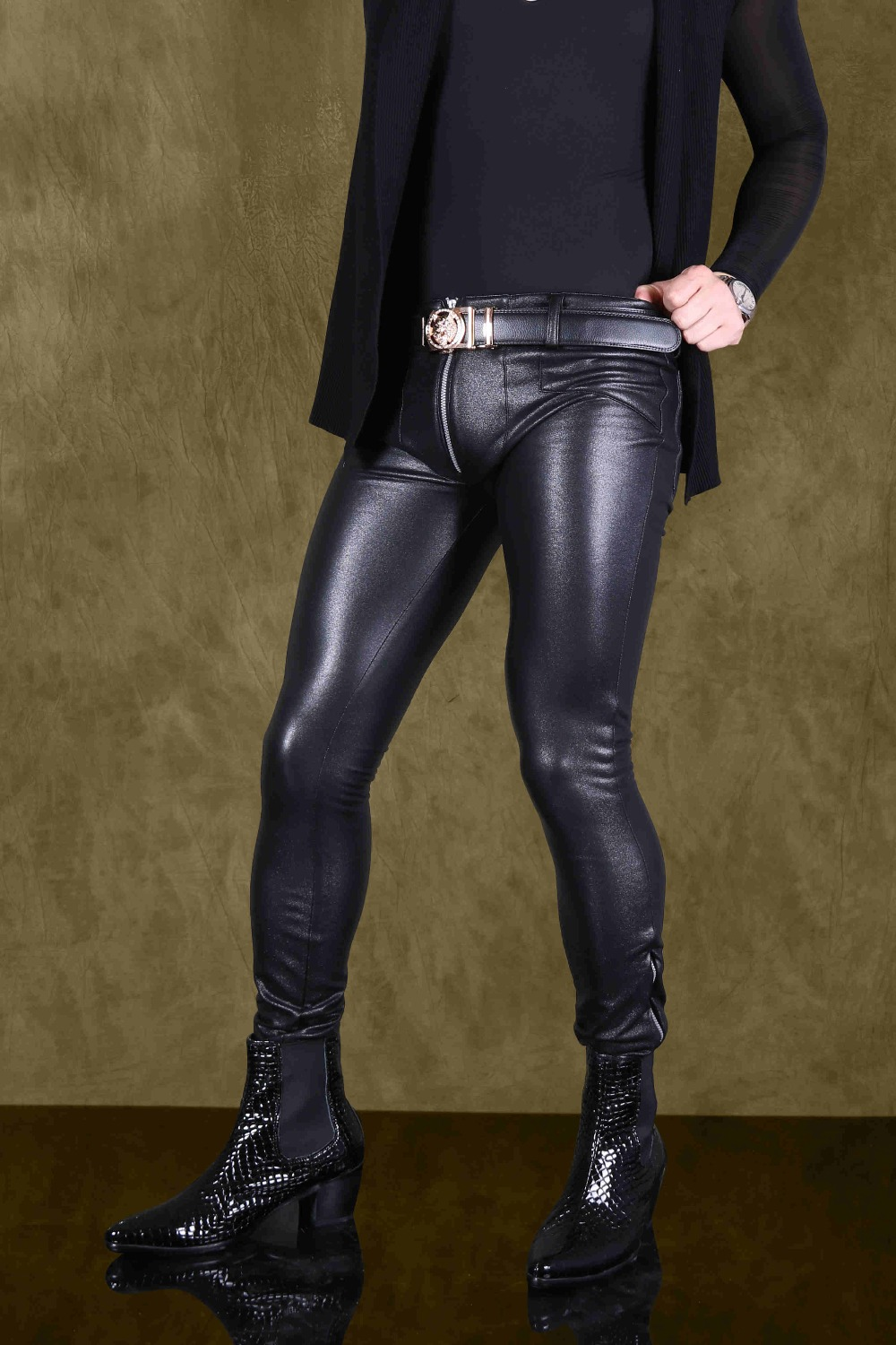 Cool Mens High Elastic Leather Pants Sexy Fashion Tight