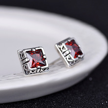 S925 sterling silver jewelry  with red and black garnet simple retro 2019 fashion womans earrings