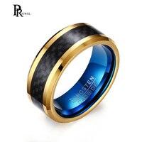 8mm Blue And Gold Color Tungsten Carbide Ring Black Carbon Fiber Wedding Band Polished Finish Comfort