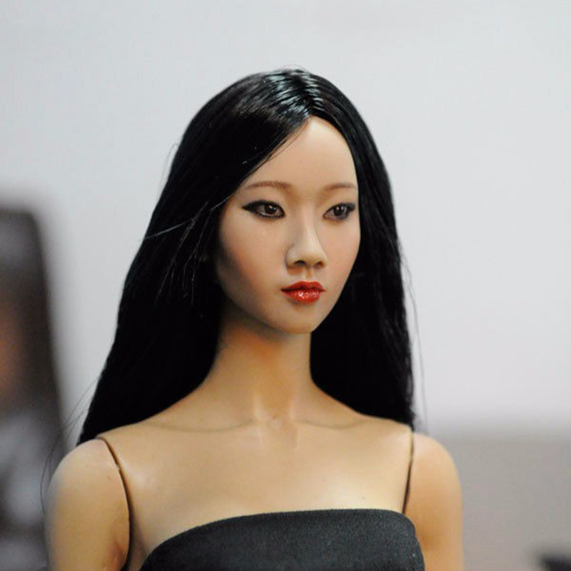 Popular TOYS 1/6 Asian Girl Black Long Hair Female Head Sculpts Model Toys For 12 Action Figure Body   Accessory 1 6 popular km 38 female head sculpt model with black hair for 12 female action figure body doll toys