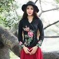 В китайском Стиле Традиционной Вышивки Топы Майка Женщин Осень Весна Длинным Рукавом Женщины Белый Черный Синий Рубашка Футболка Femme