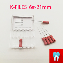 6pcs/pack 6#-21mm Dental K Files Root Canal Dentistry Endodontic Instruments Dentist Tools Hand Use Stainless Steel