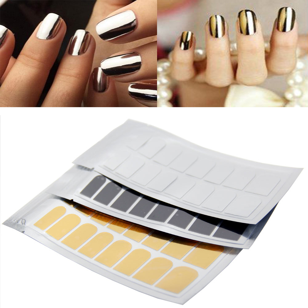 Book Cover Nail Art : Pcs new arrival nail art stickers gold silver black full