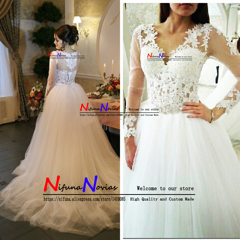 Beaded Appliques Robe de Mariage Custom Made Bridal Wedding Gowns Sexy V neck Long Sleeve Tulle