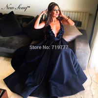 Navy Blue Deep V Neck Prom Dresses Arabic Evening Gowns With Handmade Flowers Satin Long Women Party Dress Vestidos 2019