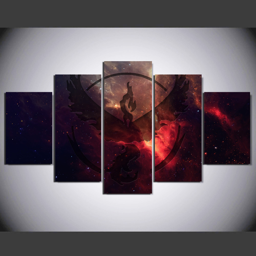 5 Panel Moltres Animation Game Wall Art Picture Modern Home Decoration Living Room Or Bedroom Canvas Print Painting Wall Picture