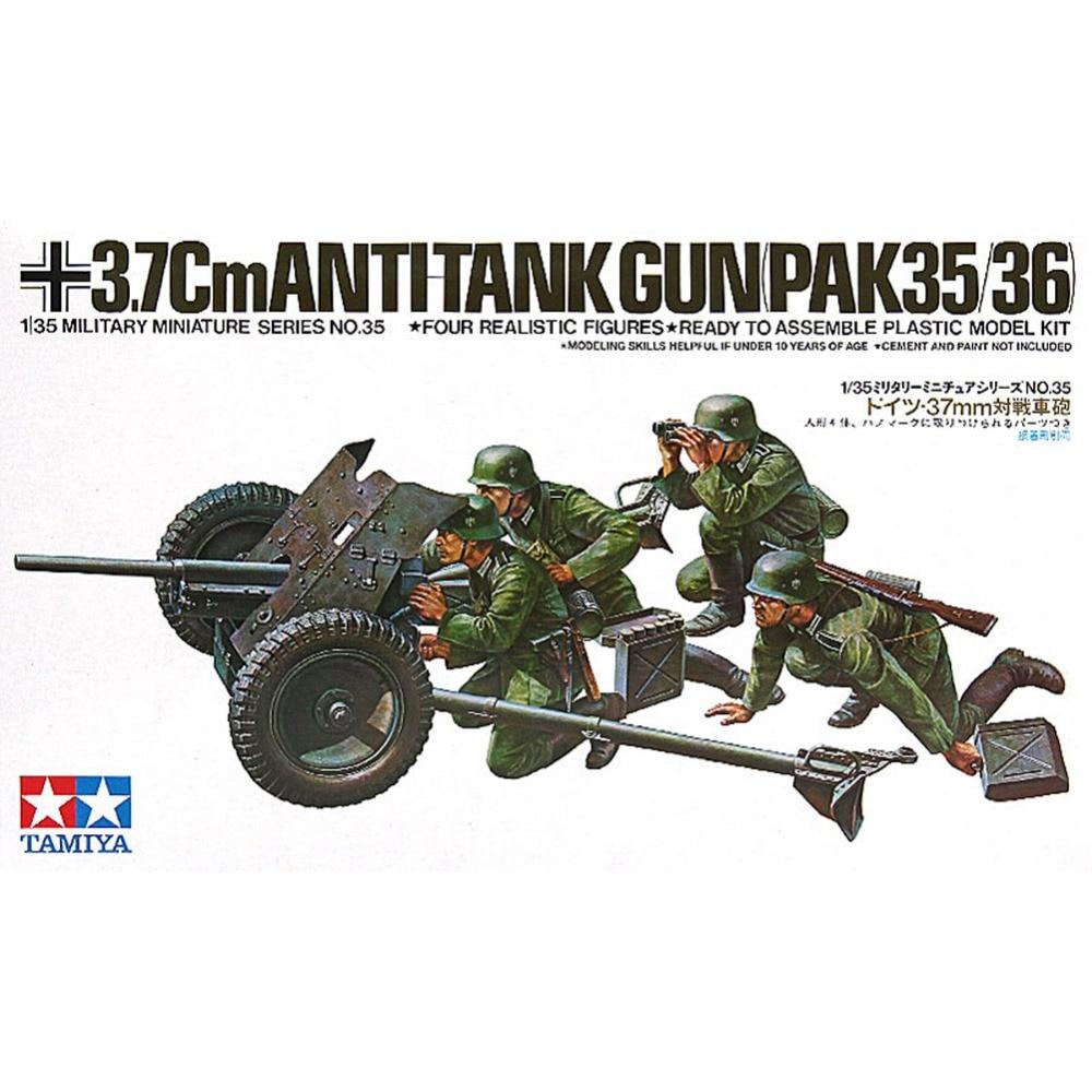 Tamiya 35035 1/35 37mm Antitank Gun Pak35/36 Assembly Military Miniatures Model Kits