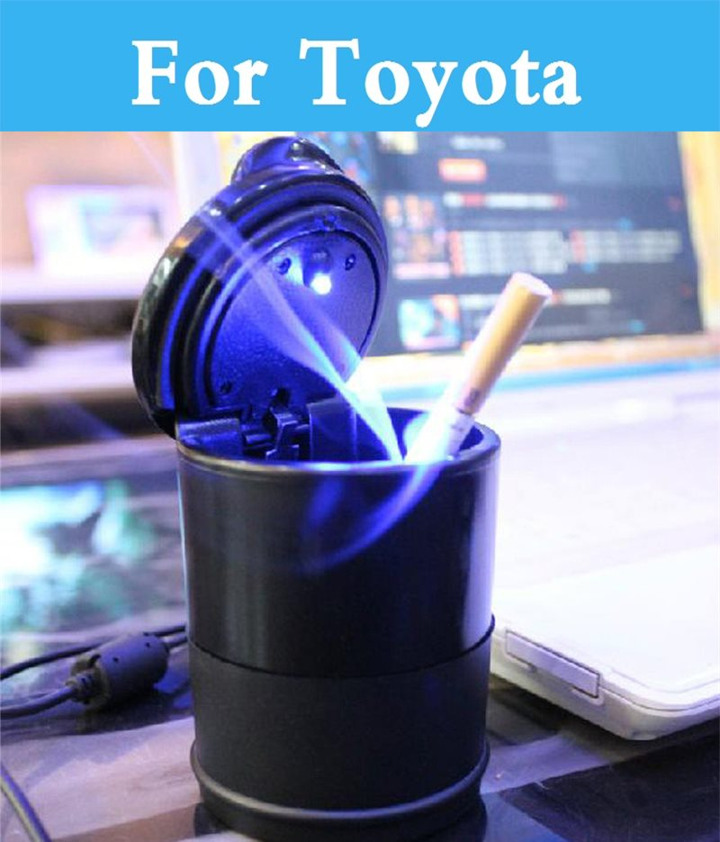 Car Ashtray Led Lamp Smoke Ash Cylinder Holder Cigar Ashtray For Toyota Yaris Highlander Verossa Vios Vitz Will Cypha Windom