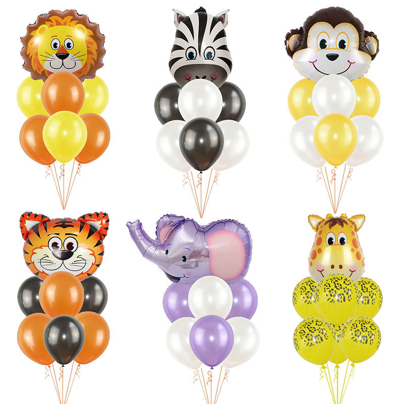 1Set Foil Jungle Animal Balloons Tiger Lion Monkey Zebra Giraffe Elephant Baby Shower Children Happy Birthday Party Decoration-in Ballons & Accessories from Home & Garden