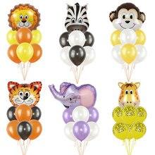 Lot de ballons animaux en feuille daluminium pour anniversaire, tigre, Lion, singe, zèbre, girafe, éléphant, réception prénatale pour enfants, décoration de fête danniversaire