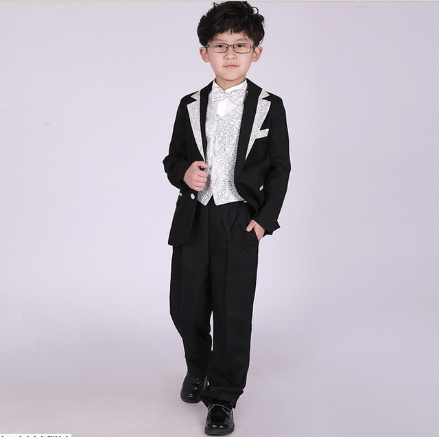 b56be90c883e4 US $19.1 9% OFF 2019 European and American Style Fashion Kids Clothing Sets  Boys Formal Wedding Suits 5Pcs Shirts Blazers Bow Pants Tie Girdle-in ...