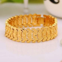2017 New Fashion Bracelet Gold Color Filled Brass Wide Bangle For Women Men Hand Chain Jewelry