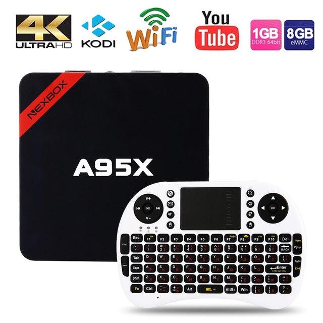 Max 2GB RAM+16GB ROM NEXBOX A95X Smart TV Box Amlogic S905X Quad core 64 Bit Android 6.0 4K 2.4GHz WiFi Media Player Set Top Box