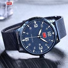 MINIFOCUS 2019 Military Casual Quartz Watch Men Mesh Strap Blue Dial Calendar Top Brand Luxury Design Waterproof Wrist Watches цена и фото