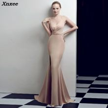 Vestidos New Sexy Champagne Long Maxi Dresses for Club 2018 Mermaid Prom Evening Party Dresses Straps Open Back Robe De Soiree vestidos de noche sexy deep 2019 open back mermaid satin split elegant long formal women evening dresses party prom dress gown