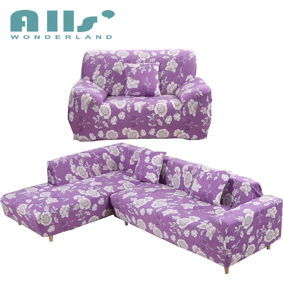 sectional sofa with removable covers   L Shaped Sofa Cover Purple Polyester Slipcover Sofa ...