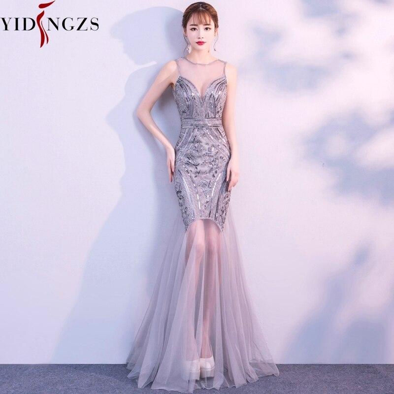 Robe De Soiree YIDINGZS Pailletten Perlen Abendkleider Meerjungfrau Lange Formale Prom Party Kleid 2019 Neue Stil