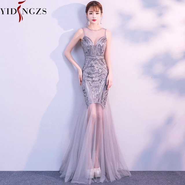 YIDINGZS Sequins Beading Evening Dresses Mermaid Long Formal Evening Party Dress 2019 New Style
