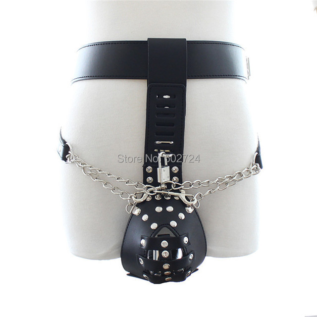 Sex Bondage Restraints Belt Men Fetish Bondage Male PU Chastity Device W   Handcuffs And Vibrator Anal Plug Sex Toys for Couples