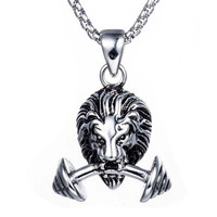 Dumbbell Pendant Stainless Steel Lion Necklace Sporty Men Jewelry Fashion Male Cloth Accessories 23 In Titanium