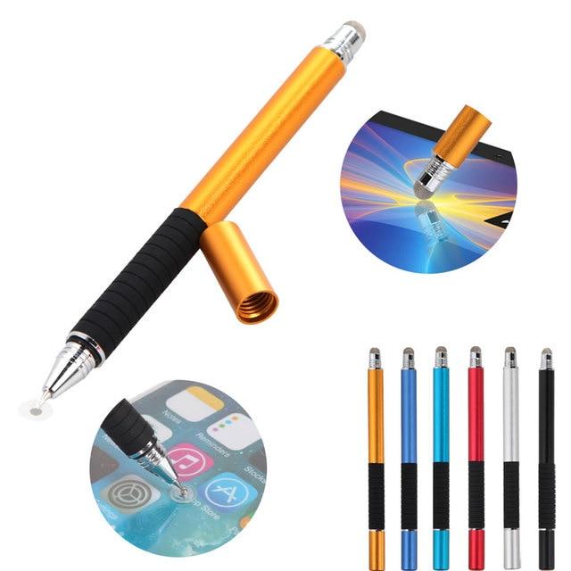 2 en 1 multifunción punta fina redonda punta fina pluma pantalla táctil capacitiva Stylus Pen para tableta de teléfono inteligente para iPad para iPhone