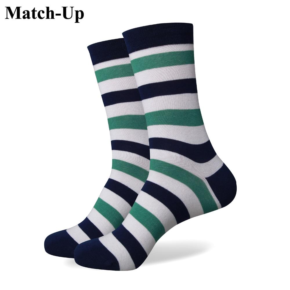 Match-Up Brezplačna poštnina nove moške pisane bombažne bombažne črte s črnimi nogavicami 256