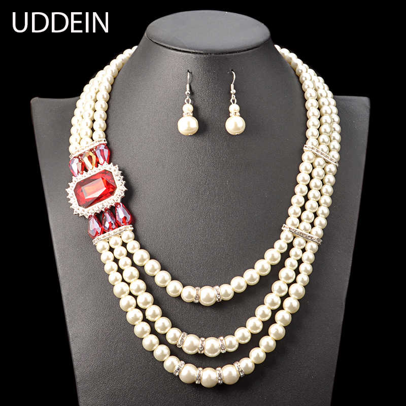 UDDEIN women wedding necklace sets three layer simulated pearl jewelry set blue crystal statement choker necklace & pendant