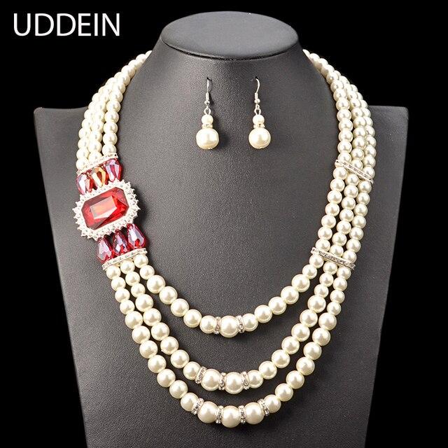 b4cef5075dbc Uddein mujeres collar de boda tres capas simulado perla conjunto cristal  azul declaración gargantilla collar y