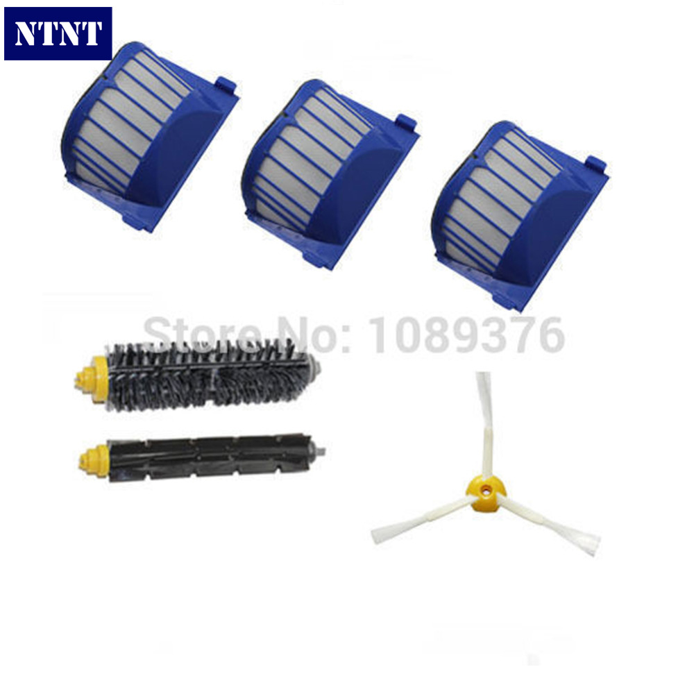 NTNT Free Post New Aero Vac Filter + Brush 3 armed kit for iRobot Roomba 600 Series 620 630 650 660 free post new aero vac filter brush 3 armed tool for irobot roomba 600 series 620 630 650
