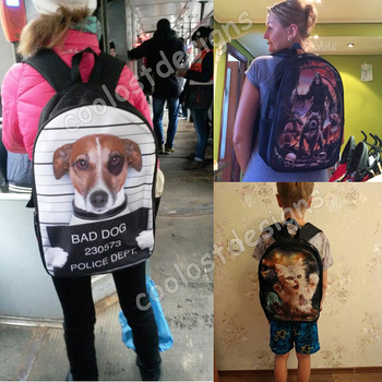 Cute Puppy Dog / Kitten Cat Backpack Women Men Causal Rucksack Student School Bags For Teenager Girls Boys Daypack Kids Bagpack