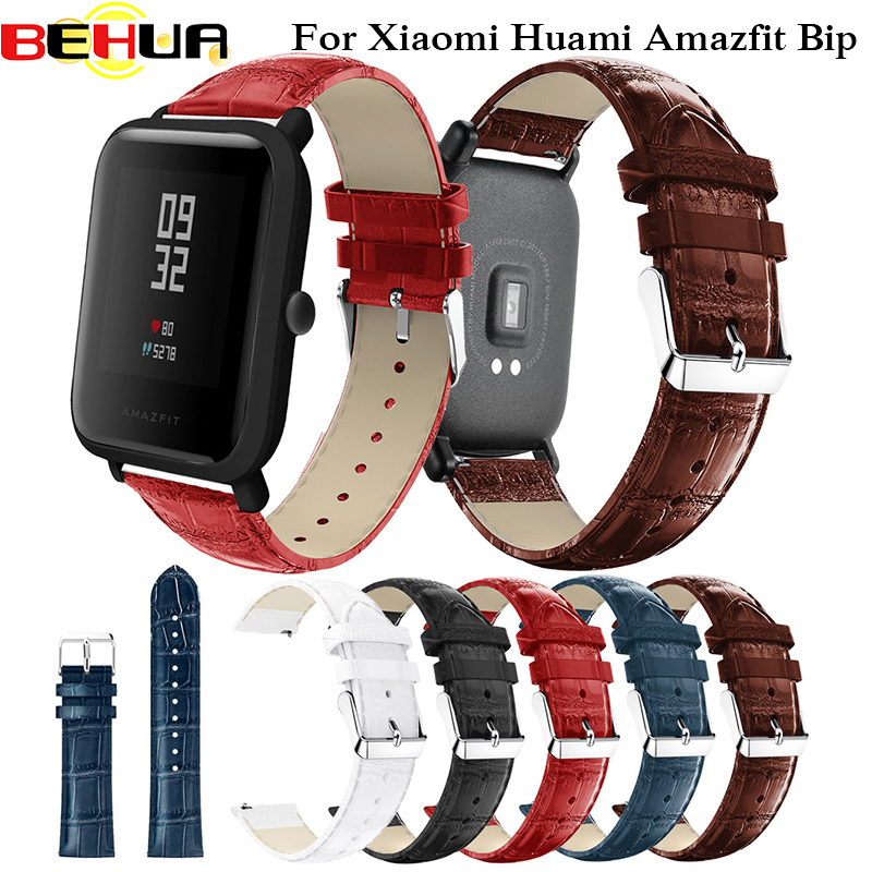 20mm Leather Watchband Strap With Metal Buckle For Xiaomi Huami Amazfit Bip BIT Lite Youth Smart Watch Wearable Wrist Bracelet