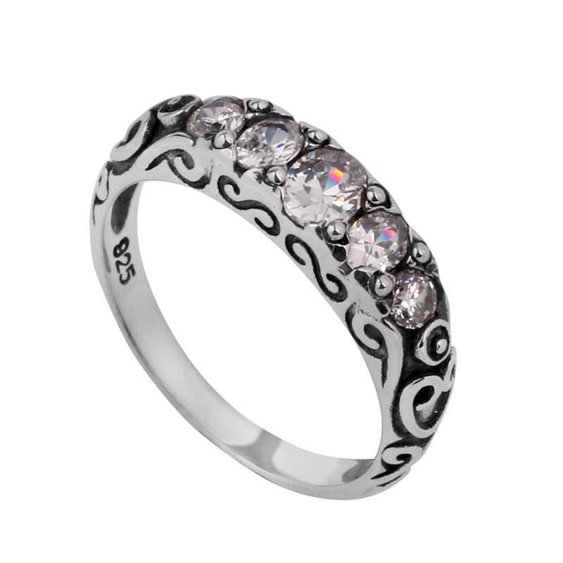 Szjinao เครื่องประดับ Fine 100% 925 sterling Silver Cushion CZ สีขาว Zirconia แหวนสำหรับผู้หญิงงานแต่งงานโรแมนติก Punk สไตล์ขายส่ง