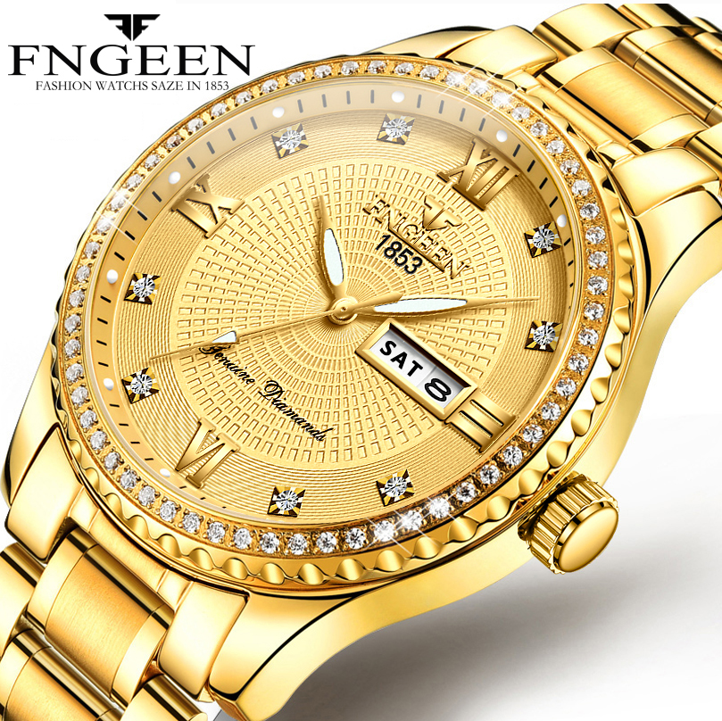 High Quality Mens Watches Top Brand Luxury Quartz Watch Full Steel Diamond Male Clock Date Week Waterproof Gold Wristwatch