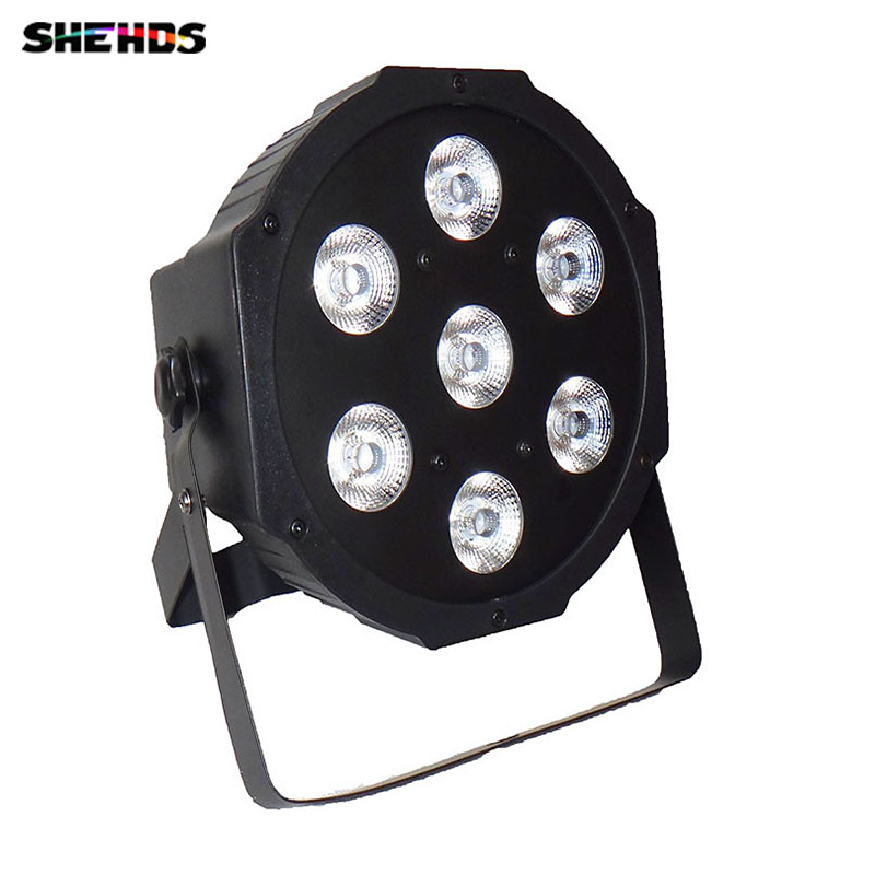 LED Flat Par 4 In 1 RGBW 7x12 W Disco Light DMX 512 8CH Stage Party DJ PAR Lighting For Indoor Club Party Show SHEHDS rg mini 3 lens 24 patterns led laser projector stage lighting effect 3w blue for dj disco party club laser