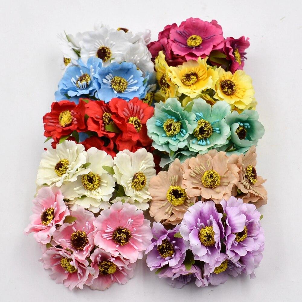 12pcs Artificial Flower high quality Silk Cherry  Bouquet For Wedding Home Decoration DIY Scrapbooking Wreath Craft Flowers