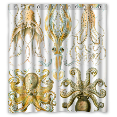 AQL Vintage Octopus Custom Shower Curtain 66 X72 Waterproof Fabric For Bathroom