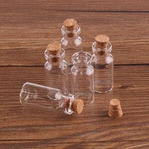 Image 3 - 100pcs 16*35*7mm 2ml Mini Glass Wishing Bottles Tiny Jars Vials With Cork Stopper wedding gift