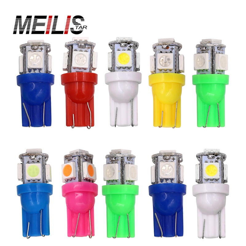 10X T10 5SMD DC 12V 1W 5050 5 SMD 192 168 194 W5W white/blue/red/green/yellow/pink Xenon LED Side Light Wedge Bulb Lamp For Car hsp high brightness white red blue yellow light 12 led system for 1 10 1 8 r c car