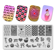 Vintage Stainless Steel Beautybigbang Stamping Plates 6*12cm Heart Rose Ring Romantic Love Image Nail XL-047