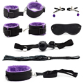 7 pcs/set Role Adult Game Erotic Toys for Couples Handcuffs for Sex Womanizer Purple bdsm Bondage Restraint Sex Product Shop