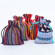 c87d1165f4a53 6pcs 9*13cm Mini Mexican Cotton Gift Bags Striped Tribal Drawstring Pouch  Party Wedding Favor