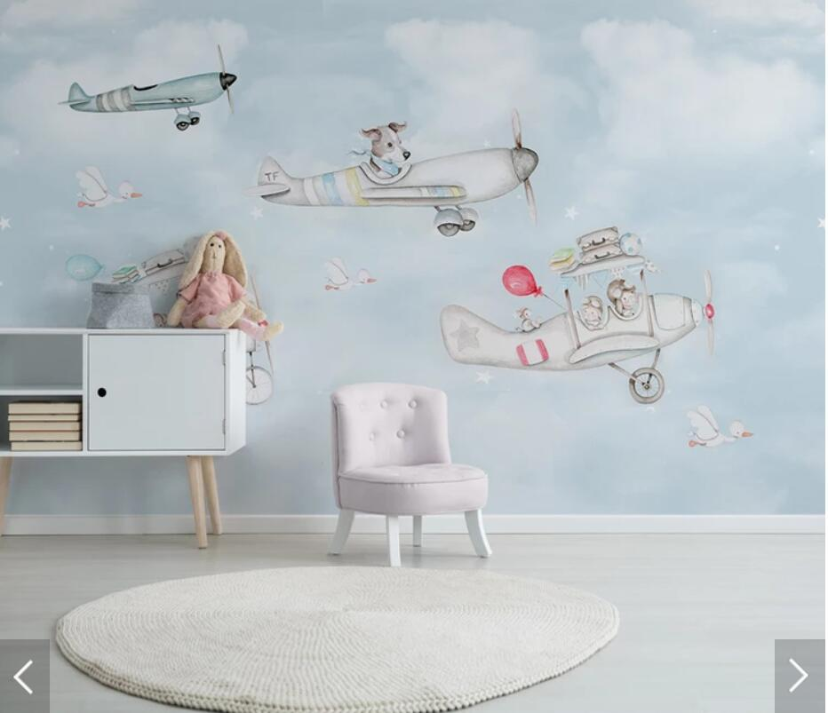 Us 8 93 53 Off Animal Carton Airplane Aircraft Wallpaper Mural Wall Murals Decals 3d Wall Paper Rolls For Living Room Kids Bedroom Wallpapers In