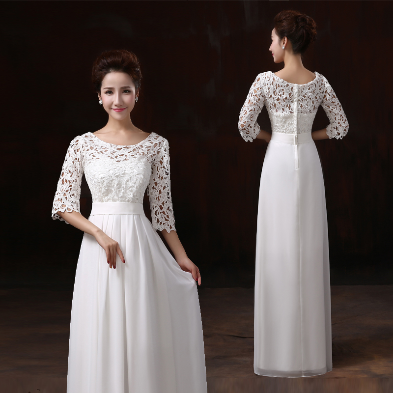 Discount Long Sleeve Lace Wedding Dresses 2017 New Simple: 2017 New Cheap Lace Dress Long Half Sleeve Double Shoulder