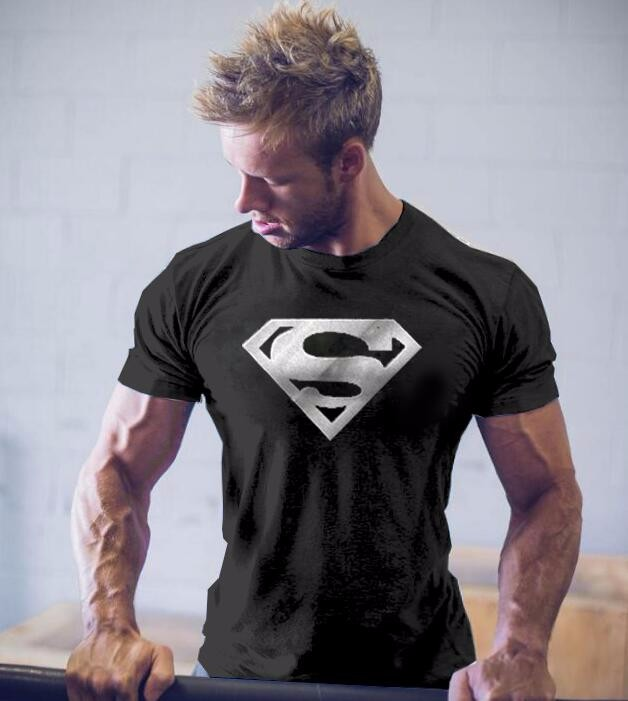 Fashion Men Superman 3D Printed T-Shirts Shirt Slim Fit Summer Cotton Short Sleeve Bodybuilding Male Golden Fitness Streetwear