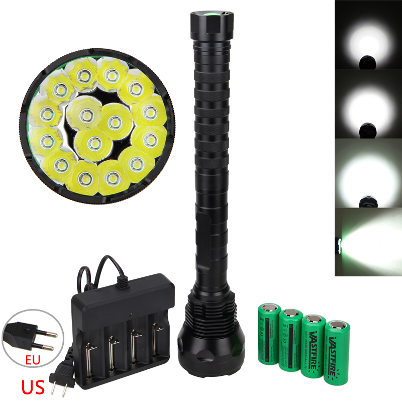 18000LM 15x XM-T6 LED Flashlight Lamp Camping Hunting Outdoor Light Torch +4x26650 Battery+ Charger new flashlight 18000 lumens high power 15x xml t6 led torch 1000m lighting distance hunting light by 4x 26650 battery